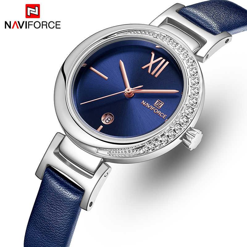ساعة نسائية من NAVIFORCE ساعة فاخرة ذات علامة تجارية راقية ساعات نسائية من الكوارتز فستان بناتي ساعة من الجلد ساعة نسائية