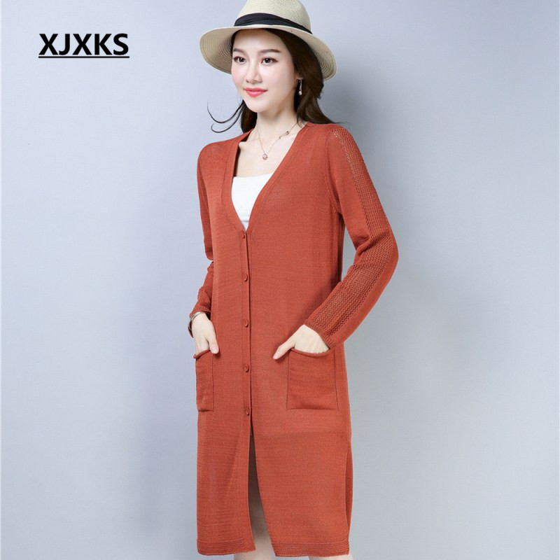 XJXKS v-cou évider à manches longues femmes Cardigans chandail avec poche M-XXL doux simple boutonnage femmes pull