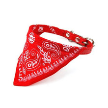 DHDL-New Cute Adjustable Pet Dog Cat Bandana Scarf Collar Small Size Red