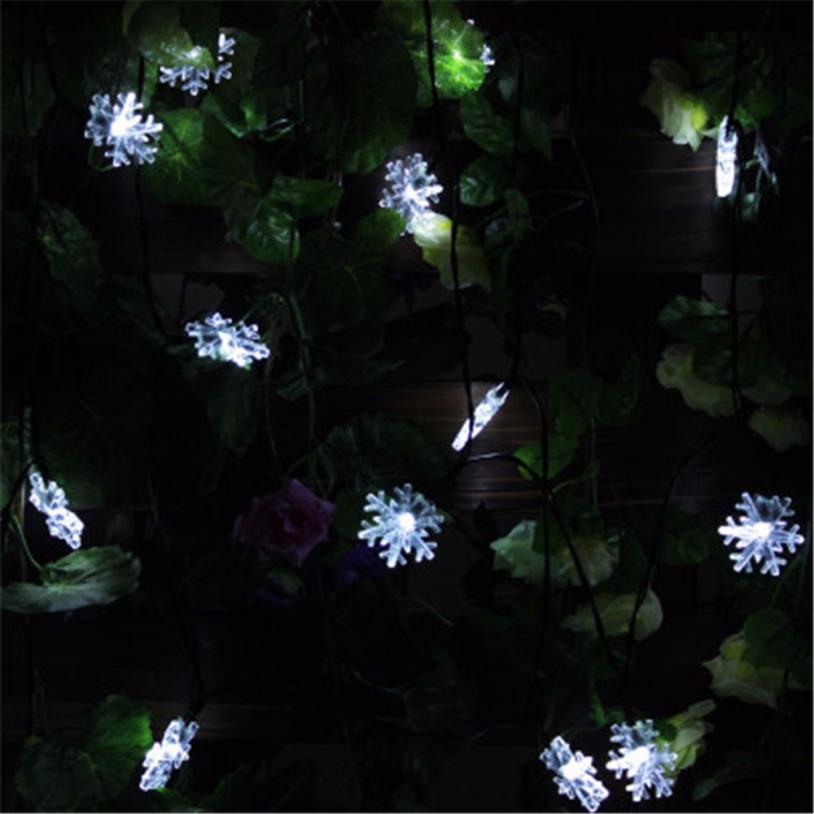 20 LED christmas garland Outdoor String Light Garden Christmas Snow Head Fairy Lamp Solar Energy N22