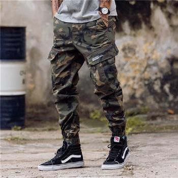 Kwietnia MOMO mężczyźni boczne kieszenie haremki bojówki spodnie 2019 Hip Hop na co dzień mężczyzna taktyczna spodnie do biegania moda casualowe w stylu streetwear spodnie tanie i dobre opinie Pełnej długości April MOMO Cargo pants Military REGULAR Poliester COTTON Midweight Plisowana Suknem Zipper fly AP44 Camouflage Black