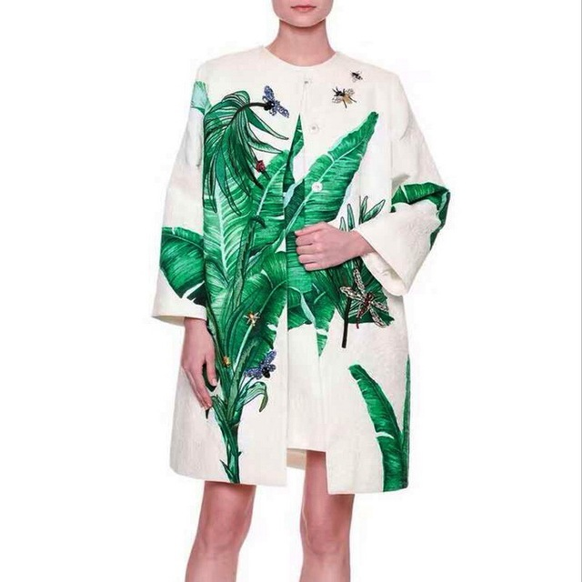 Banana Green Leaves Printed Beaded Dragonfly Cocoon Women's Trench  0801MM01