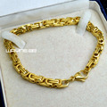 Men Gold tone Stainless steel 22cm Length 6mm Width Heavy Bracelet Bangle B182