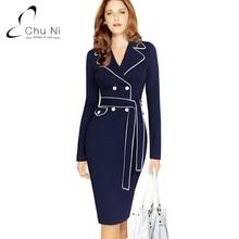 Chu Ni 2017 New Elegant Women Autumn Dress Lapel Collar Belted Button Long Sleeve Wear Work Office Sheath Fitted Dress 3X N011