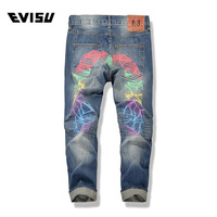 Evisu 2018 Men hipster jeans Casual Fashion Trousers Printing Men Pockets Jeans Straight Long Classic Blue Jeans For Men 6139