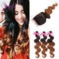 Горячие продажи T1b/30 пучки волосков с Lace Closure объемная волна бразильского виргинские человеческих волос Weave Связки 7а лучшие качества в на складе