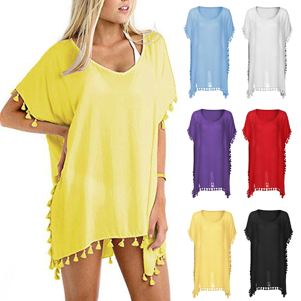 6 Colors Maternity Women Summer Beach Dress Linen Tassel Ball Loose Bikini Cover Up Swimwear Cover Up For Bathing Suit One Size
