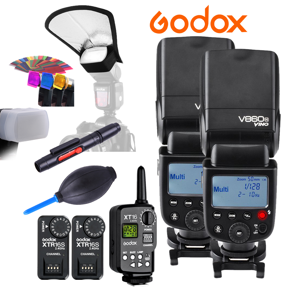 Godox VING 2x V860N V860 I-TTL HSS Master Li-ion Flash Speedlite+FT-16S Trigger Speedlite 1/8000s for Nikon D800 D90 D600 D7000 godox ving v860c ttl li ion high speed speedlite flash speedlight godox ft 16s wireless flash trigger kit for canon dslr