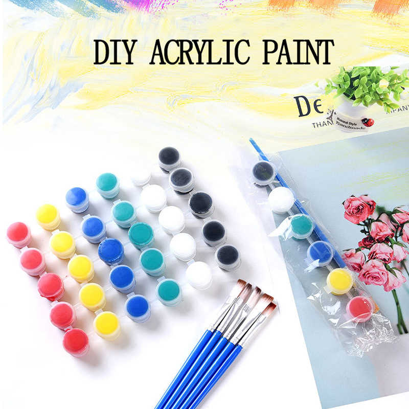 6/8 Colors Acrylic Paint Set For Paint By Numbers Clothing Textile Fabric Hand Painted Wall Plaster Painting Drawing For Kids