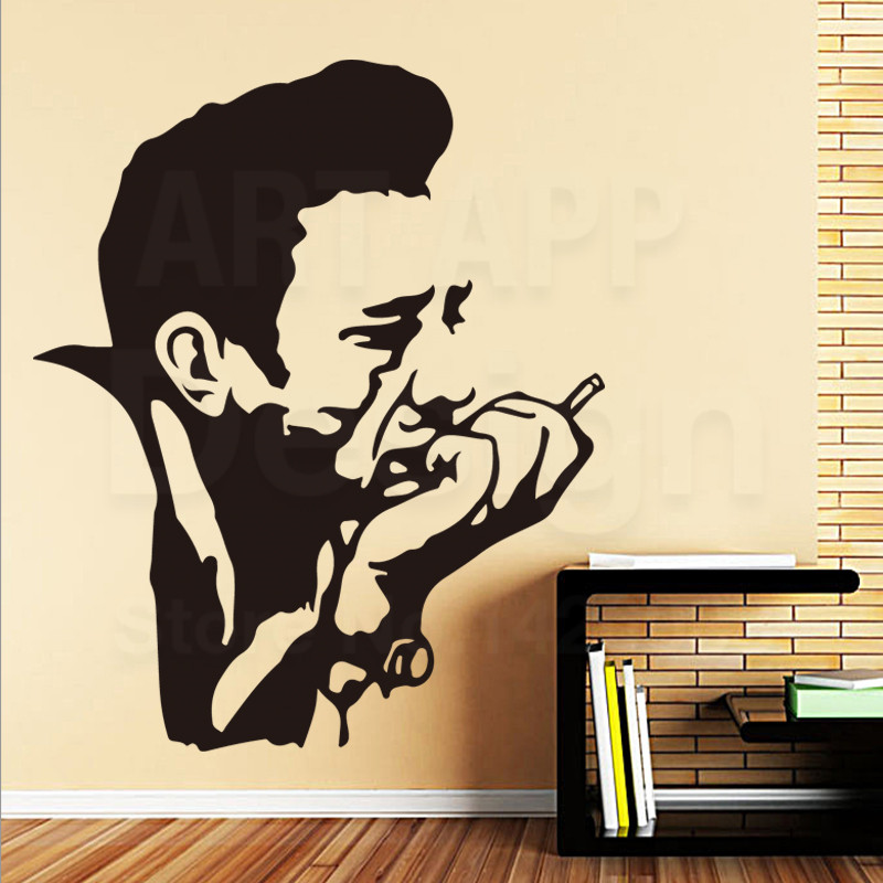 Art New Design Home Decor Cheap Vinyl Johnny Musician Wall Sticker Colorful Pvc Country Music Cash Decals For Room Decoration