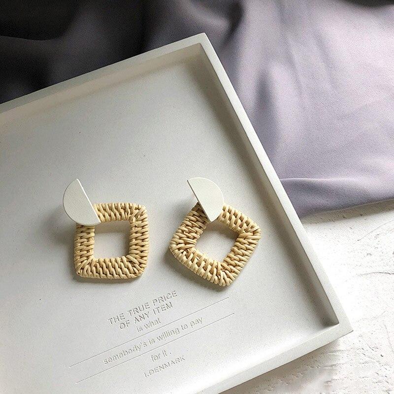 19 New Korea Handmade Wooden Straw Woven Rattan Vine Braid Geometric Large Circle Square Long Drop Earrings For Women Girl 7