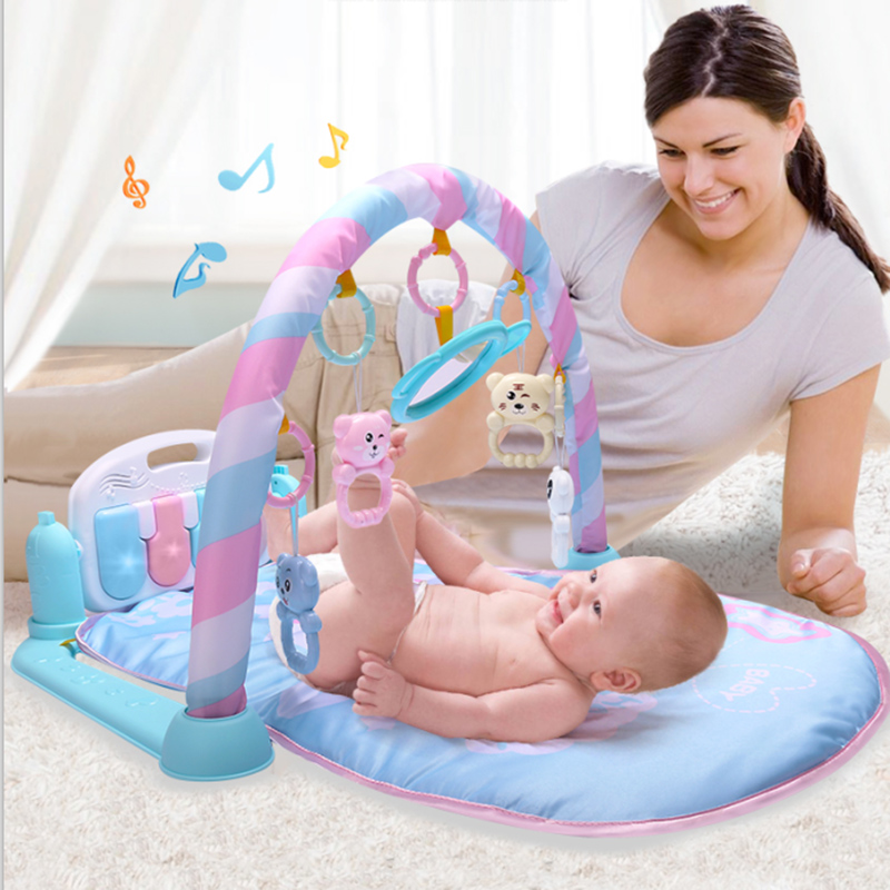 2018 New Baby Musical Play Mat Infant Toys 0-12 Months Soft Lighting Rattles Musical Toys For Babies Toys Play Piano Gym blue цена 2017