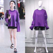 Fall 2019 Star Jiang Zi Airport with Purple Crewneck Loose BF Wind Korean Turtleneck Dress Fashion Girl Sweatshirt Pullovers цена 2017