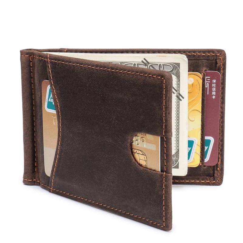 Men Front Pocket Minimalist Wallets Genuine Leather Thumb Sliding Slim Wallet RFID Blocking Crazy Horse Card Holder Money Clip wallet