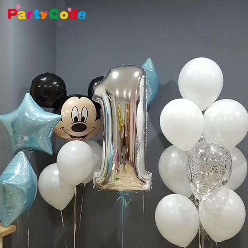 17pcs Lot Mickey Mouse Birthday Balloons For Kids One Year Old 2 3 4 5 6 7 8 9 Years Baby Shower Decor Toy