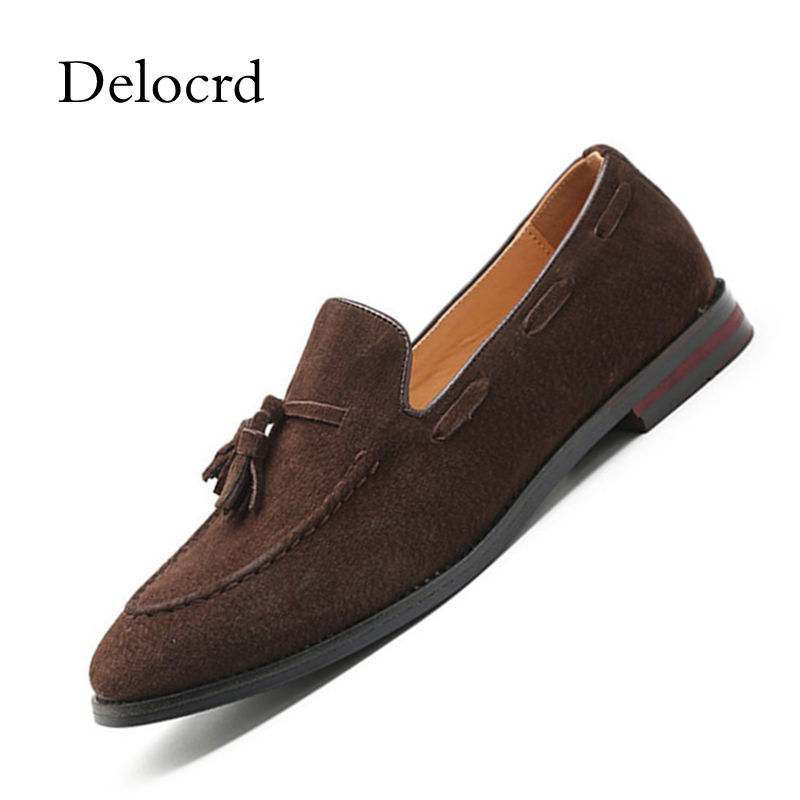 Imitation Suede Leather Men Slip On Driving Moccasins Loafers England Style Retro Comfortable Tassel Men Flat Boat Shoes Del new suede leather women shoes loafers slip on sewing driving flats tassel woman breathable moccasins blue ladies boat flat shoes