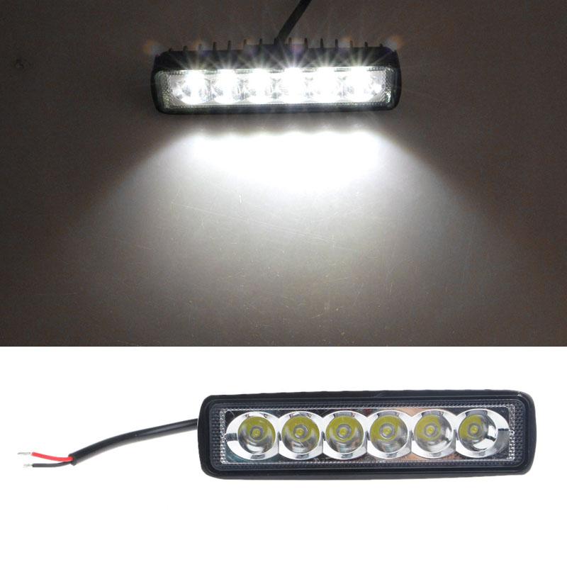 LED Car Flood Light 18W Truck Car Daytime Running Light Bar Work Headlight 6LED Fog Lamp Waterproof White Car Spotlight