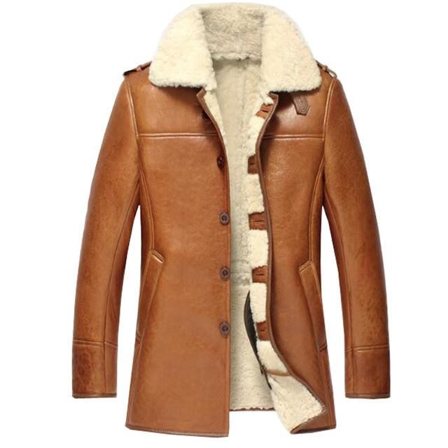 81011a347be Мужские овчины шуба мужские дубленки пальто мех ягненка Кожаная куртка  полета куртка Авиатор шуба TJ24