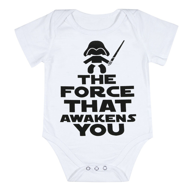 3dfde5358 Funny Newborn Infant Clothes Force Awakens You Letter Print White Short  Sleeves Tiny Cottons Baby Bodysuits Onesie 0-18M Baby