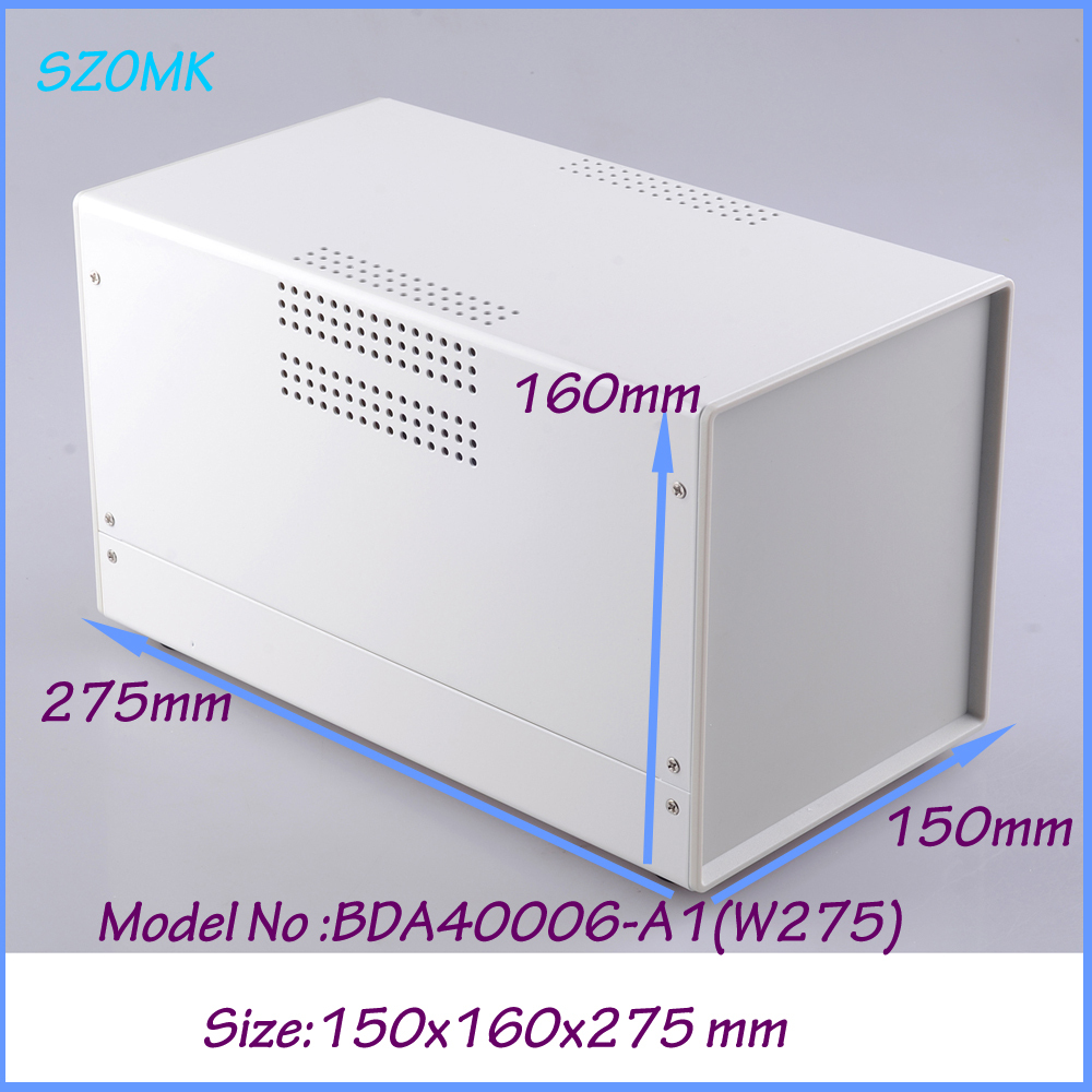 ФОТО 1 piece metal white color iron box with plastic end plates housing for diy design 150x160x275 mm iron case housing