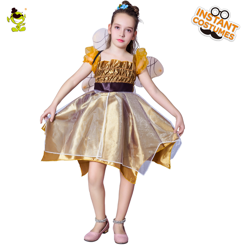 Kids New Golden Fairy Girls Dresses Costumes Beauty Summer Dress With Wings for Children Party Halloween Costume Clothes