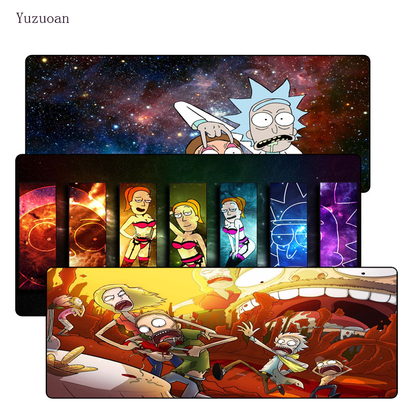 Yuzuoan 900*400*3MM Funny Anime Large Lock Edge Mousepad Rubber Play Mat Computer Desk M ...