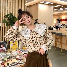 hot deal buy lace collar kawaii shirt blouses for female white red spring hollow long sleeve slim sweet lovely girl blouses shirts for women