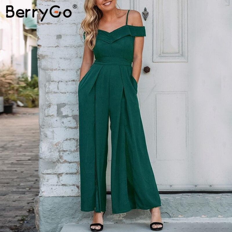 BerryGo Women Rompers Jumpsuit Elegant V-neck  Solid Wide Leg Jumpsuit Off Shoulder Sexy Jumpsuit Romper Ladies Party Playsuit