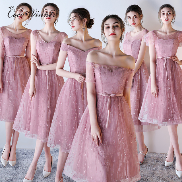 910d49b886a C.V Half Sleeve Off Shoulder Vintage Bridesmaid Dresses A line Mid-Long  Pink and Grey Color Girl Sweet party Dress B0009