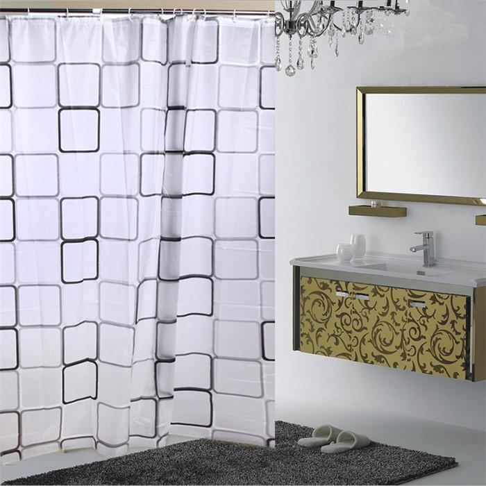 180x200cm W*H Squares Geometir Pattern PEVA Shower Curtain Bathroom Decor Waterproof Mouldproof With Hooks