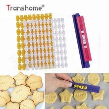 Transhome формочки для печенья, сделай сам, алфавит, пластиковая Лепешка, буквы, форма для печенья, пресс, тиснение, форма для выпечки торта, инструменты для печенья