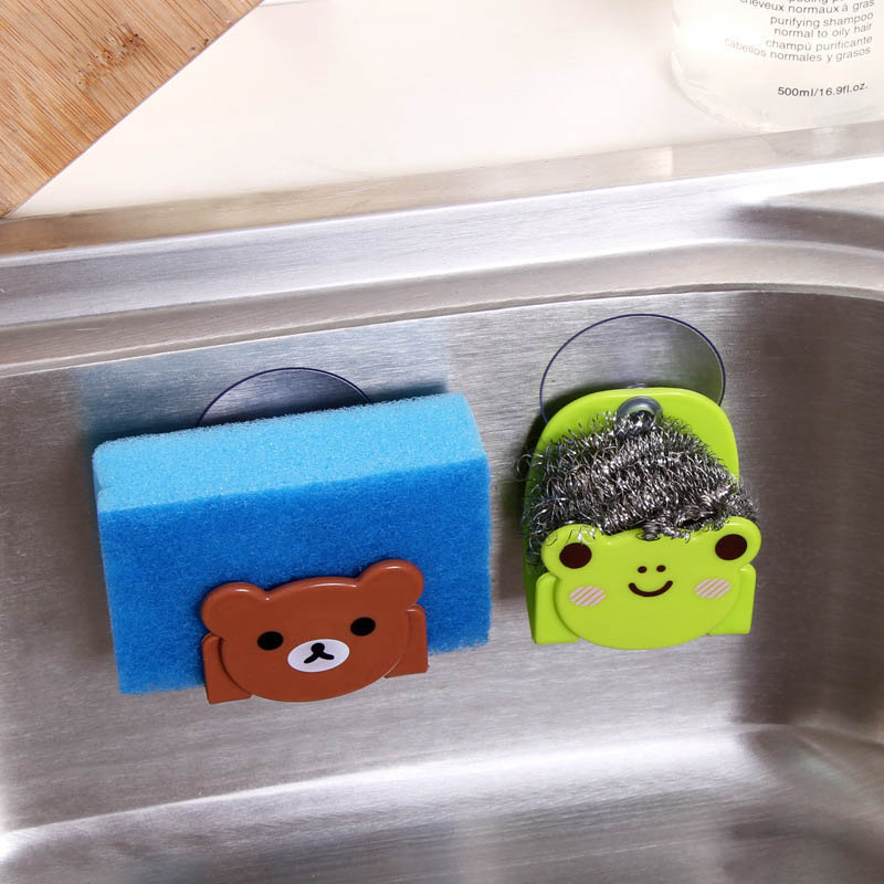 Bathroom Supplies Sucking Disc Sponge Rag Storage Rack Wall-mounted Sundries Racks Cartoon Sink Storage Holders