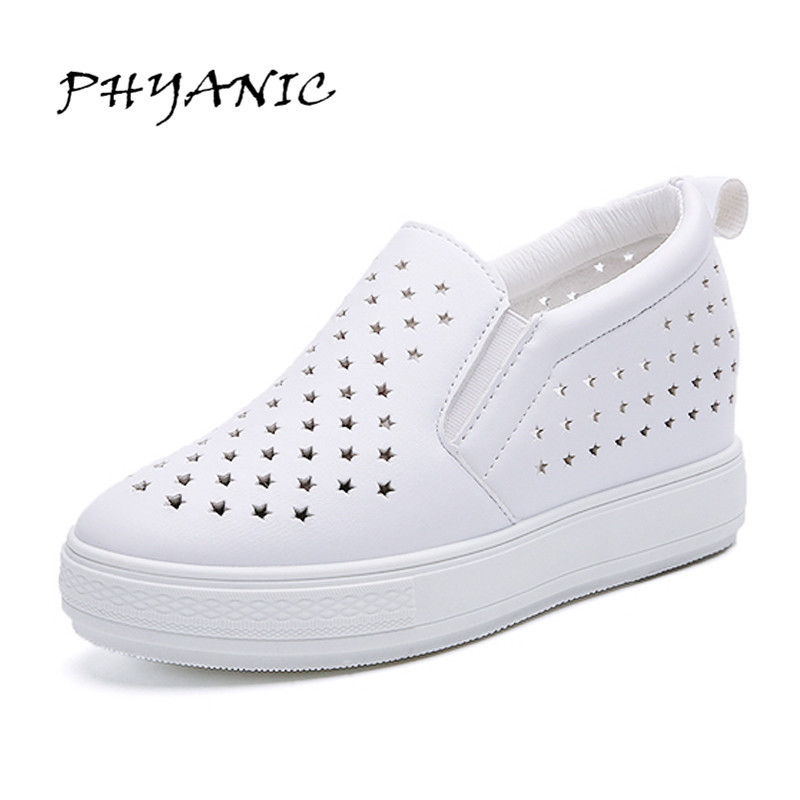 PHYANIC Spring/Summer Style Women Platform Shoes Woman Flats Loafers Espadrilles Slip On Ladies Creepers Thick Sole White Shoes phyanic 2017 summer gladiator sandals straw platform creepers silver shoes woman buckle casual women flats shoes phy4046