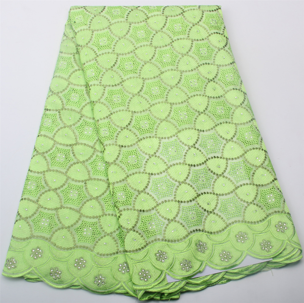 Lemon green african cotton voile lace with stones for wedding high quality african swiss voile lace