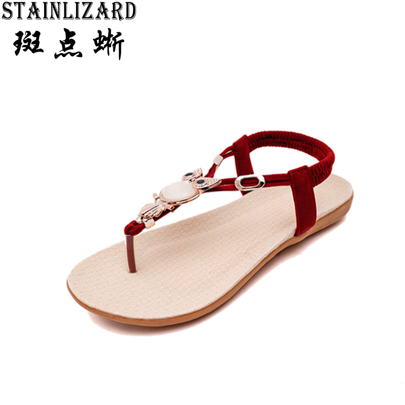 Hot Sale 2017 New Fashion Women Sandals Beaded Ladies Flip Flops Bohemia Woman Shoes Comfort Beach Summer Flat Sandals BT143 2016 fashion summer women flat beaded bohemia ppen toe flat heel sweet women students beach sandals o643