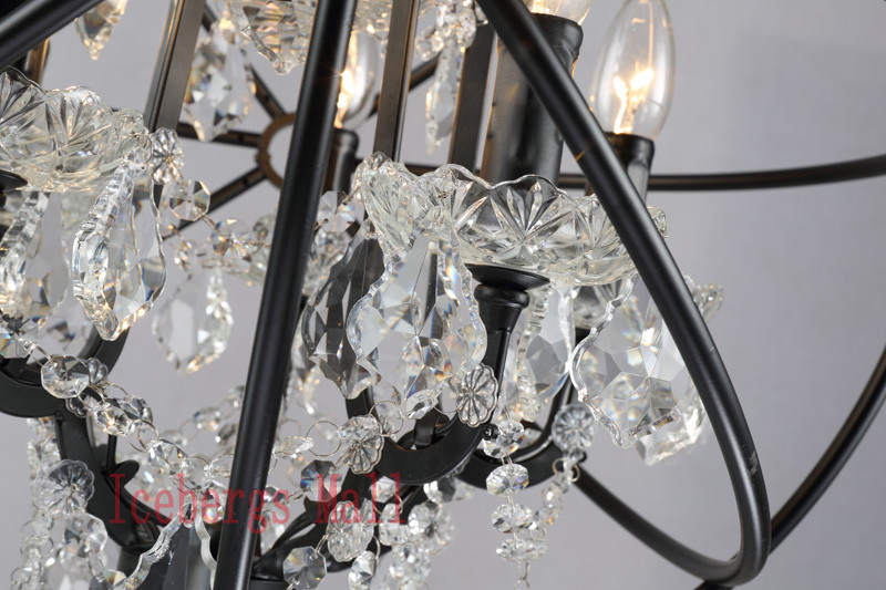 Nordic Iron Chain Cage Crystal Pendant Lights American RH Industrial Lamp Vintage Home Decor Hanging Light For Living Room6