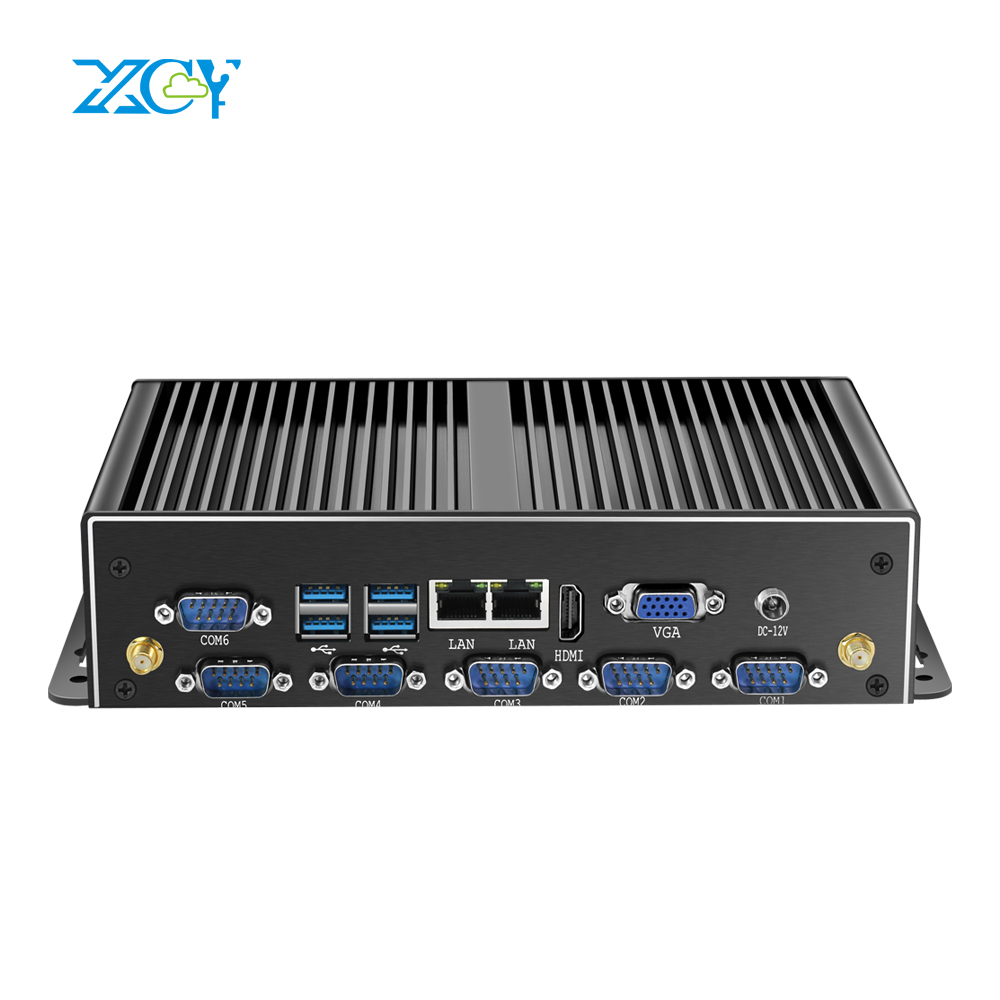 XCY Industrial Mini PC Intel Core I7 5500U 4500U Dual Gigabit Ethernet WiFi 6xRS232/485 HDMI VGA 8xUSB 3G/4G LTE Windows Linux