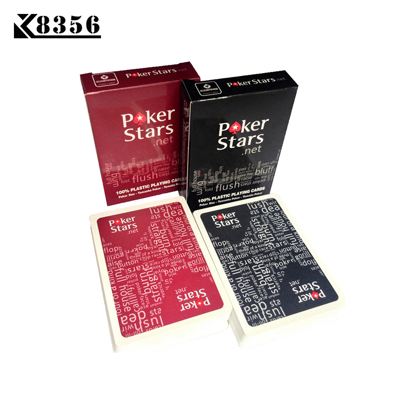 K8356 2Sets Lot Baccarat Texas Hold em Plastic Playing Cards Waterproof Frosting Poker Cards Pokerstar Board Game 2.48*3.46 inch