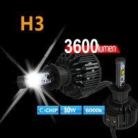 Ücretsiz gemi C-ÇIP H3 led araba far sis lambası 30 W 3600LM V16 turbo fan otomobil sürüş parlak beyaz halojen ampul yerine