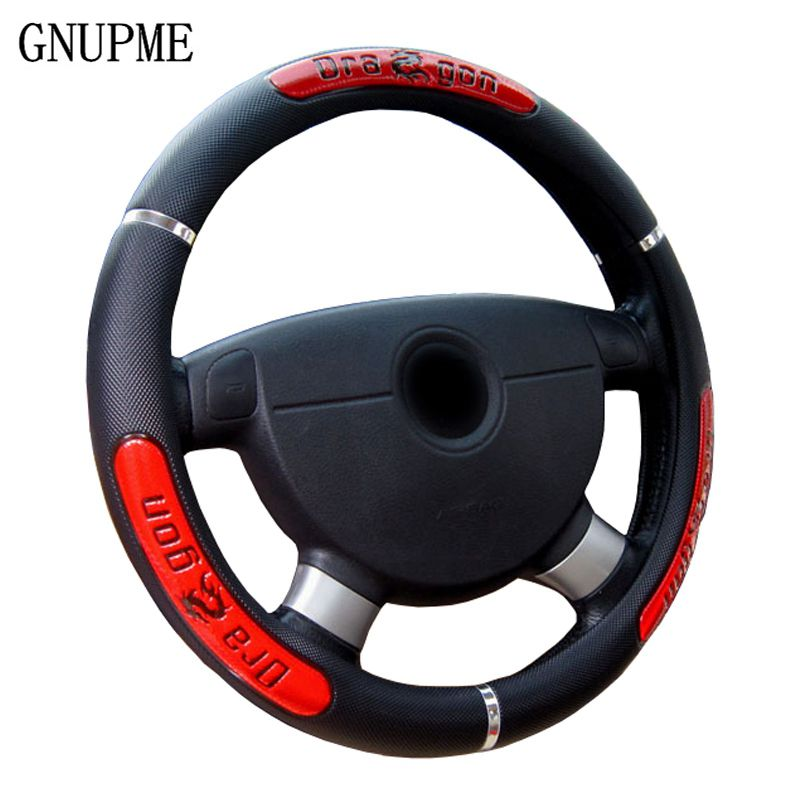 GNUPME Hot Sell 2018 New Design Leather Auto Car Steering Wheel Cover 38CM/15 Universal High Quality Steering Covers
