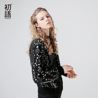 Toyouth Autumn Winter Women Sweater Dot Print Fashion Long Sleeve Black CLothing Femme Casual Loose O