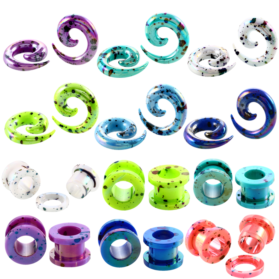 2pcs/lot Acrylic Spiral Ear Plugs and Tunnels Ear Piercigns Lobe Piercings Ear Expanders Stretchers Earring Gauges Body Jewelry Пирсинг ушей