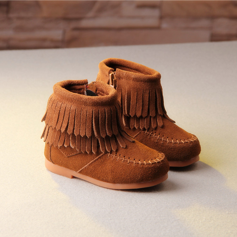 Winter New Children Shoes for Toddler Girls Warm Boots Children Boots Genuine Leather Matte Double Tassel Girls Boots KS133 стоимость