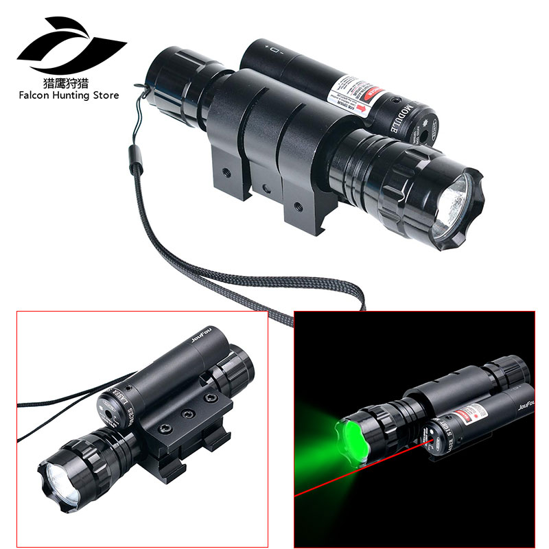 Tactical Hunting Light Ultra Bright Strong Blue or Green Flashlight Red Laser Sight with 20mm Rail Mount Torch Kit