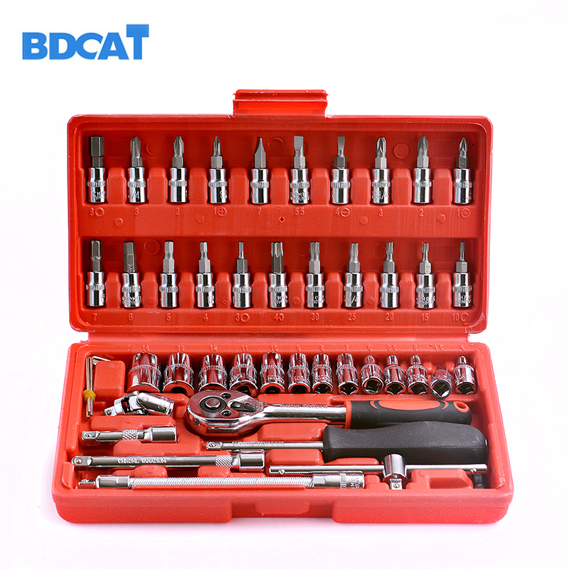 46pcs 1/4-inch socket set car repair tool ratchet Torque Wrench Set Combination Bit a set of keys Chrome Vanadium mainpoint 1 4 1 2 3 8 e socket sockets set cr v torx star bit combination drive socket nuts set for auto car repair hand tool