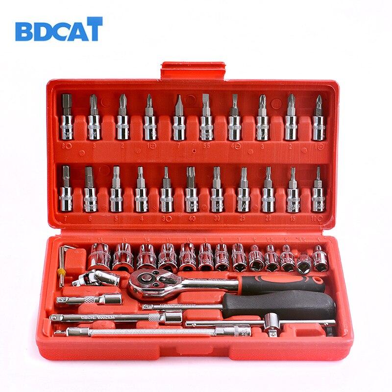 Bdcat Car Repair Tool 46pcs 1/4-Inch Socket Set Car Repair Tool Ratchet Torque Wrench Combo Tools Kit Auto Repairing Tool Set