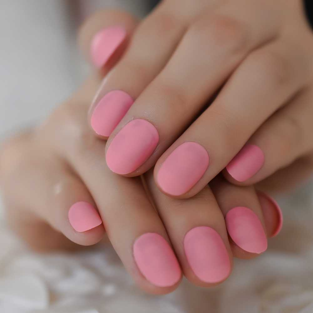 Matte Short Nails Frosted Hot Pink Nails Nails Acrylic Suitable