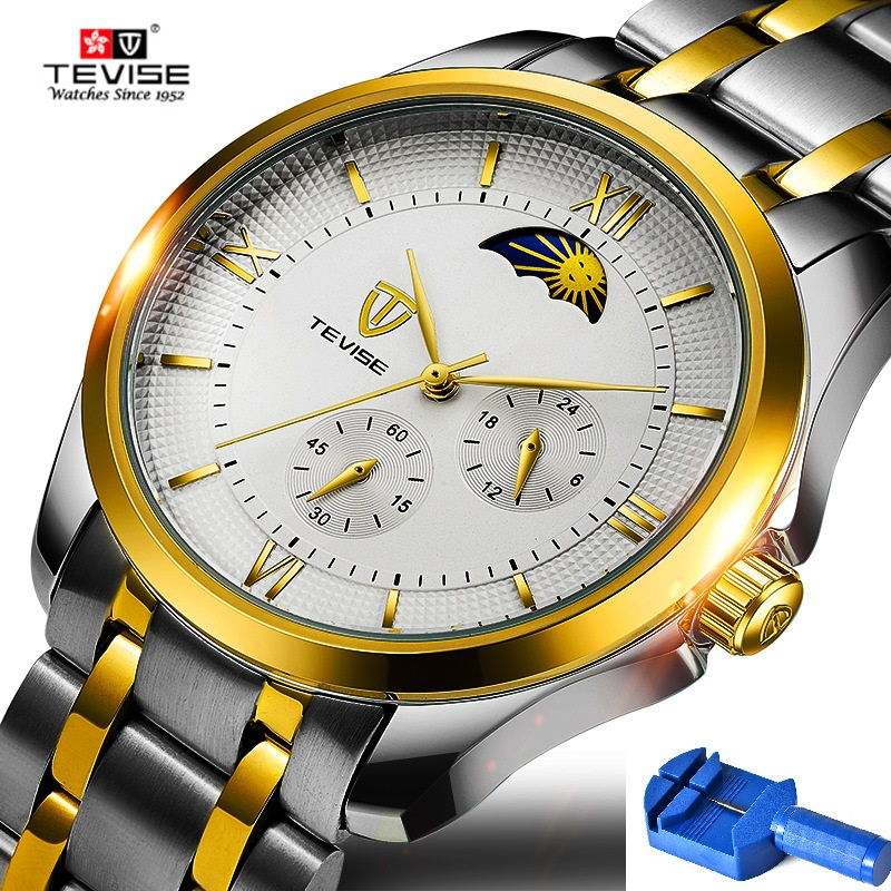 Man Watch 2018 TEVISE 9036G Push Button Hidden Clasp Moon Phase Automatic Men Watches Stainless Steel Mechanical WristwathesMan Watch 2018 TEVISE 9036G Push Button Hidden Clasp Moon Phase Automatic Men Watches Stainless Steel Mechanical Wristwathes
