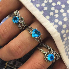 5 Pieces /set Geometric Texture Fashion Bohemian Wind Flowers with Blue Stone Heart Five-piece Set Ring for Men and Women(China)