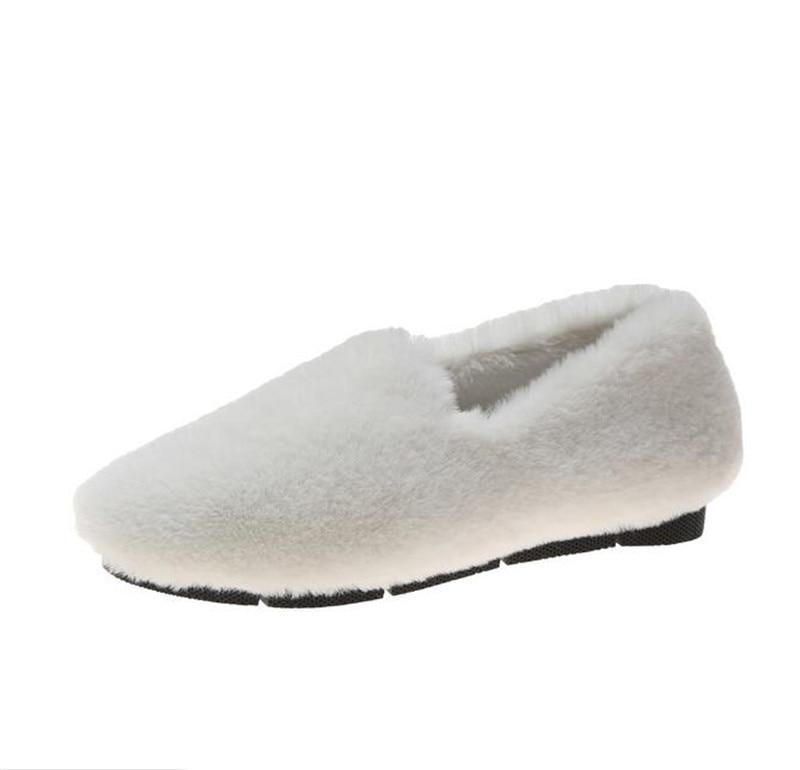 Invierno De Peluche Las Conejo Plana azul En Mocasines Negro Slip caqui Cómodos Mujer Redonda Punta Cálido Felpa rojo 2019 Hogar Casuales Mujeres Pelo blanco Zapatos 4dtAtqn